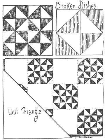 How to Quilt: broken dishes quilt block,